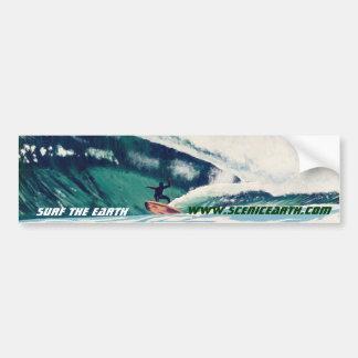 Resaca que practica surf el arte de la pegatina pa etiqueta de parachoque