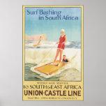 Resaca que se baña en Suráfrica, vintage Impresiones