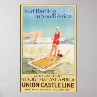 Resaca que se baña en Suráfrica, vintage Póster