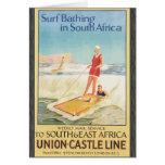 Resaca que se baña en Suráfrica, vintage Felicitaciones