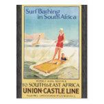 Resaca que se baña en Suráfrica, vintage Tarjetas Postales