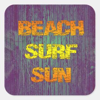 Resaca Sun de la playa Calcomanía Cuadrada Personalizada