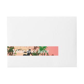 Resaca, surfboarder con los elemetns florales etiquetas postales