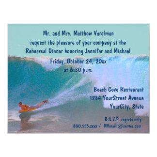 """Resaca y mar de la cena del ensayo invitación 4.25"""" x 5.5"""""""