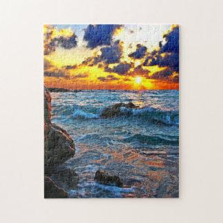 Resaca y puesta del sol puzzles con fotos