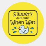 Resbaladizo cuando bebé mojado pegatina
