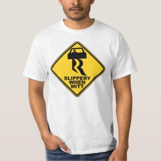 Resbaladizo cuando camiseta del mitón playera