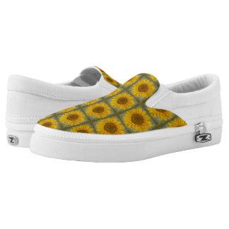 Resbalón del girasol del vintage en los zapatos zapatillas