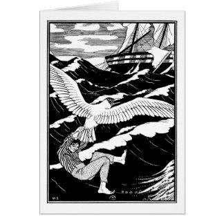Rescatado por una gaviota gigante tarjeta de felicitación