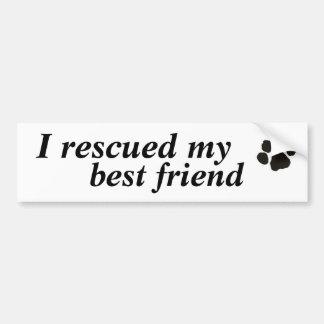 Rescaté a mi mejor amigo el perro adoptado etiqueta de parachoque