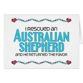 Rescaté a un pastor australiano (el perro masculin tarjeta de felicitación