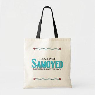 Rescaté a un samoyedo (el perro femenino) bolsa lienzo
