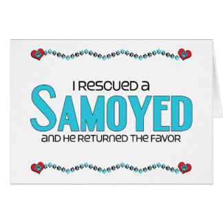 Rescaté a un samoyedo (el perro masculino) felicitaciones