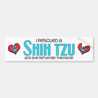 Rescaté a un Shih Tzu (el perro femenino) Pegatina Para Auto
