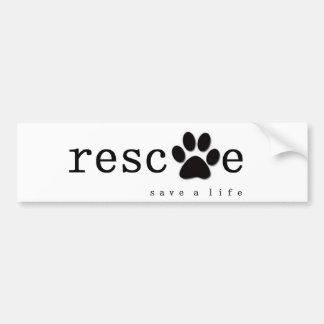 RESCATE - ahorre una vida Pegatina De Parachoque