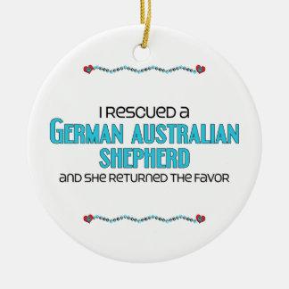 Rescaté al pastor australiano alemán (el perro fem adornos de navidad