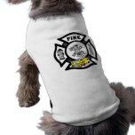 Rescate amarillo del coche de bomberos camisa de mascota