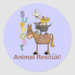 Rescate animal de la ayuda pegatinas redondas