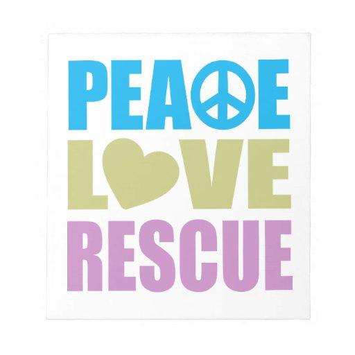 Rescate del amor de la paz blocs de papel