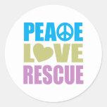 Rescate del amor de la paz etiquetas redondas
