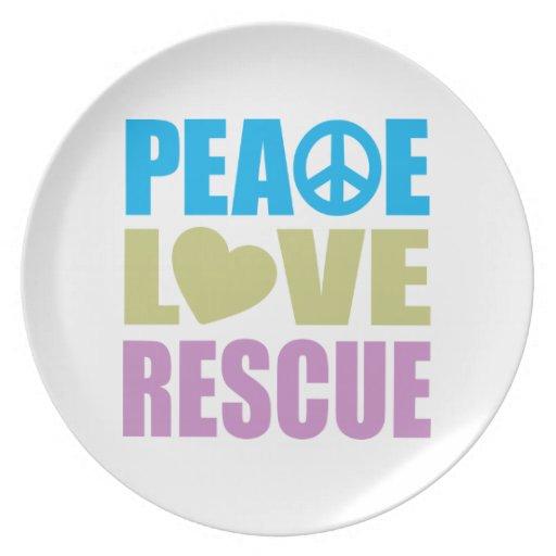 Rescate del amor de la paz plato de cena