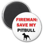 Rescate del bombero mi Pitbull Imán De Frigorifico