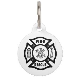 Rescate del fuego del bombero placa para mascotas