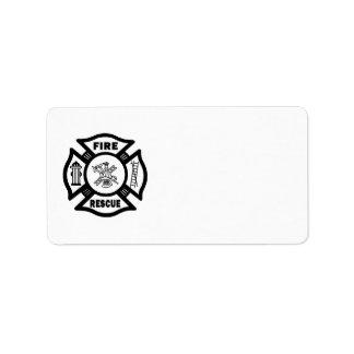 Rescate del fuego etiquetas de dirección