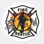Rescate del fuego etiqueta redonda