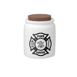 Rescate del fuego jarra para caramelo