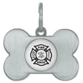 Rescate del fuego placa de nombre de mascota