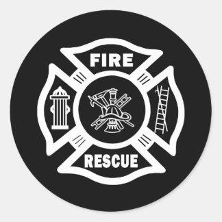 Rescate del fuego pegatinas redondas