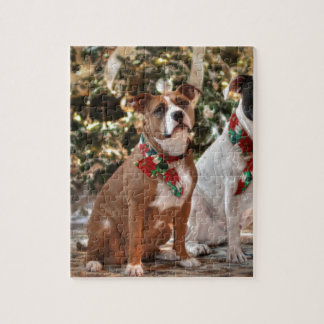 Rescate lindo Pitbull del navidad y perro de Puzzles Con Fotos