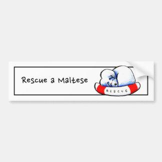 Rescate maltés pegatina para auto