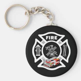 Rescate rojo del coche de bomberos llavero redondo tipo pin
