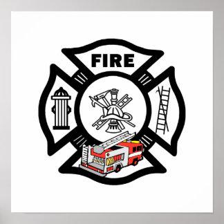 Rescate rojo del coche de bomberos póster