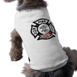 Rescate rojo del coche de bomberos camiseta de mascota
