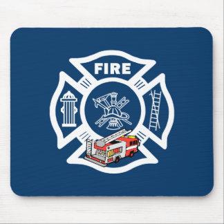 Rescate rojo del coche de bomberos tapetes de raton