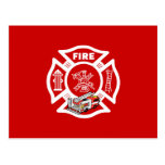 Rescate rojo del coche de bomberos tarjeta postal