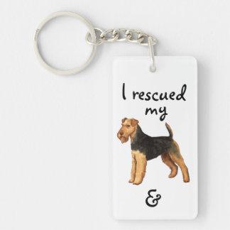 Rescate Terrier galés Llavero Rectangular Acrílico A Doble Cara