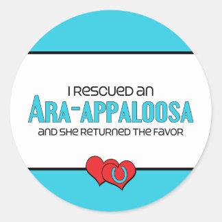 Rescaté un Ara-Appaloosa (el caballo femenino) Etiqueta Redonda