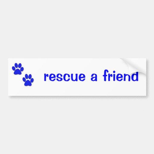 Rescate un azul de la pegatina para el parachoques etiqueta de parachoque
