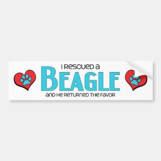 Rescaté un beagle (el perro masculino) pegatina para auto