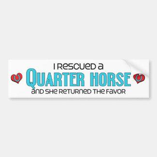 Rescaté un caballo cuarto (el caballo femenino) etiqueta de parachoque