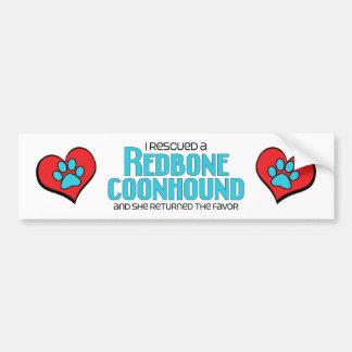 Rescaté un Coonhound de Redbone (el perro femenino Pegatina De Parachoque