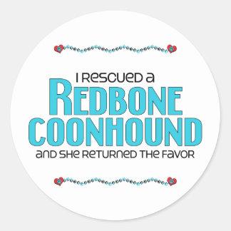 Rescaté un Coonhound de Redbone (el perro Pegatina Redonda
