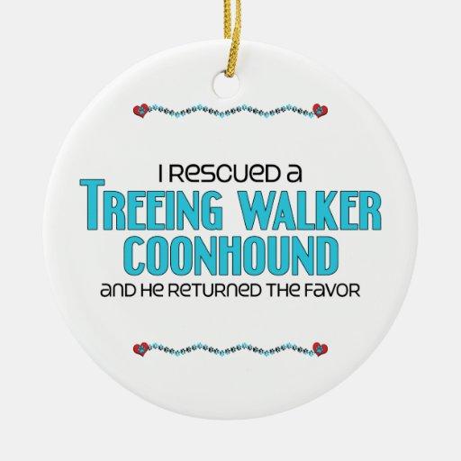 Rescaté un Coonhound del caminante de Treeing (el Adorno Redondo De Cerámica