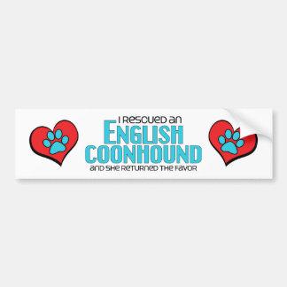 Rescaté un Coonhound inglés el perro femenino Pegatina De Parachoque