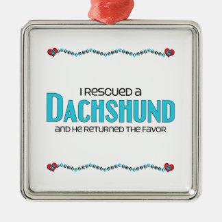 Rescaté un Dachshund el perro masculino Ornamento Para Arbol De Navidad