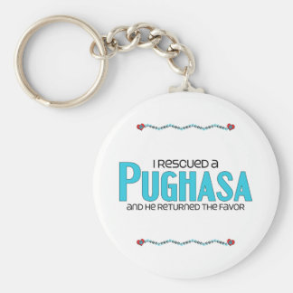 Rescaté un diseño de la adopción del perro de Pugh Llavero Redondo Tipo Pin